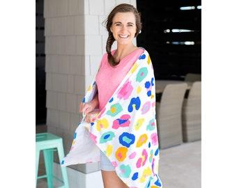 Colorufl Leopard Towel - Monogrammed Beach Towel, Personalized Beach Towels, Monogrammed Gifts, Towel - Beach Trip