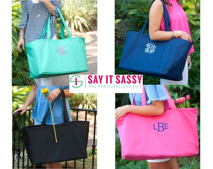 Monogrammed Large Tote - Personalized Utility Tote Bag - Personalized Bag - Monogrammed Ultimate Tote - Oversized Tote - Monogram Tote Bag