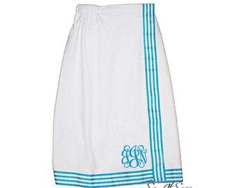 Monogrammed Towel Wrap - Spa Wrap - Bath Wrap - Graduation Gift - Bridesmaid Towel Wrap - Monogram Towel Wrap - Shower Wrap - Aqua Stripe