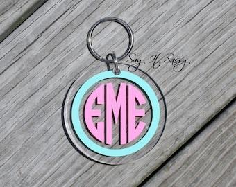 Circle Monogram Keychain Acrylic Personalized Key Chain , Acrylic Keychain, Acrylic Key Chain, Monogrammed Keychain, Personalized Keychain