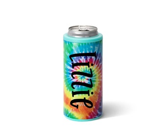Skinny Can Cooler, Tie Dye Can Cooler, 12 ounce Skinny Can Hugger, Personalized Can Cooler, Drink Sleeve, Stainless Steel Can Cooler
