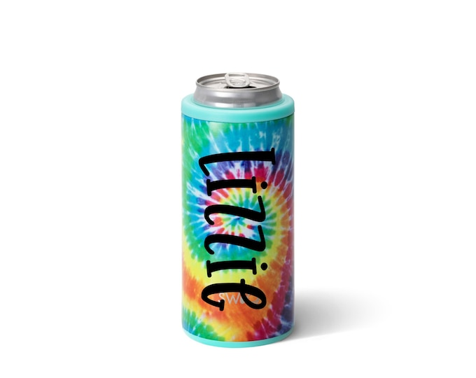 Skinny Can Cooler - Tie Dye Can Cooler - 12 ounce Skinny Can Hugger - Personalized Can Cooler - Drink Sleeve - Stainless Steel Can Cooler -
