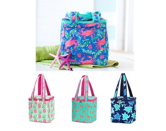 Cooler Bag - Personalized Cooler - Monogram Lunch Bag - Insulated Cooler Tote Bag - Beach Cooler - Turtle - Crab -Flamingo -Pineapple Cooler