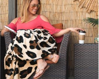 Leopard Blanket, Monogrammed Blanket, Leopard Throw, Plush Blanket