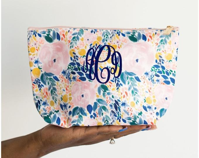 Floral Makeup Bag, Monogrammed Cosmetic Bag, Floral Zipper Bag, Floral Toiletry Bag, Personalized Makeup Bag, Floral Zipper Pouch