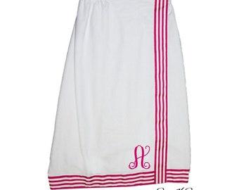 Spa Wrap - Monogram Towel Wrap - Graduation Gift - Bath Wrap - Bridesmaid Towel Wrap - Monogrammed Towel Wrap - Shower Wrap- Hot Pink Stripe