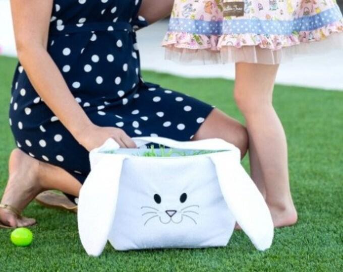 Personalized Easter Baskets , Monogrammed Easter Basket , Bunny Easter Bucket , Kids Egg Hunt Tote ,  Kids Easter Basket
