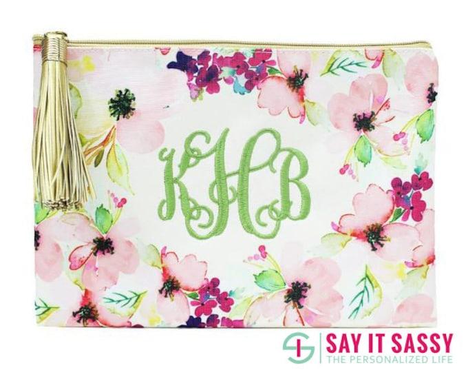 Floral Zipper Pouch- Monogram Zipper Pouch- Personalized Zipper Pouch- Floral Zipper Bag with Tassel- Bridal Party Gift- Floral Cosmetic Bag