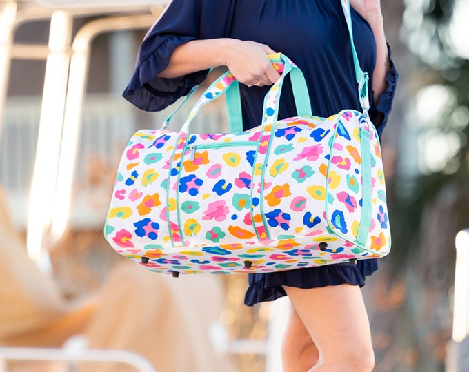 Fun Leopard Duffel Bag - Monogram Luggage - Weekender Bag - Camp Bag - Dance Bag - Monogram Overnight Bag - Personalized Leopard Duffel