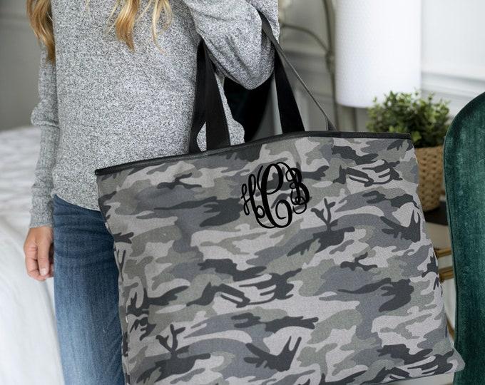 Camo Tote, Monogrammed Camo Bag, Camouflage Tote Bag, Boat Tote, Weekend Bag, Black Camo Bag, Camo Hand Bag, Personalized Camo Tote