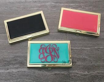 Business Card Case - Business Card Holder - Gold Business Card Case - Personalized Business Card Holder - Mint Business Card Case