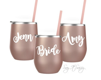 Bridesmaid Gift - Stemless Wine Cup - Personalized Bridal Party Gift