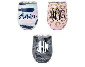 Stainless Steel Wine Glass - Stemless wine glass - Personalized Wine Tumbler - Leopard Wine Glass -  Camo Wine Glass - Monogram