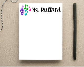 Music Teacher Personalized Note Pad - Music Notes