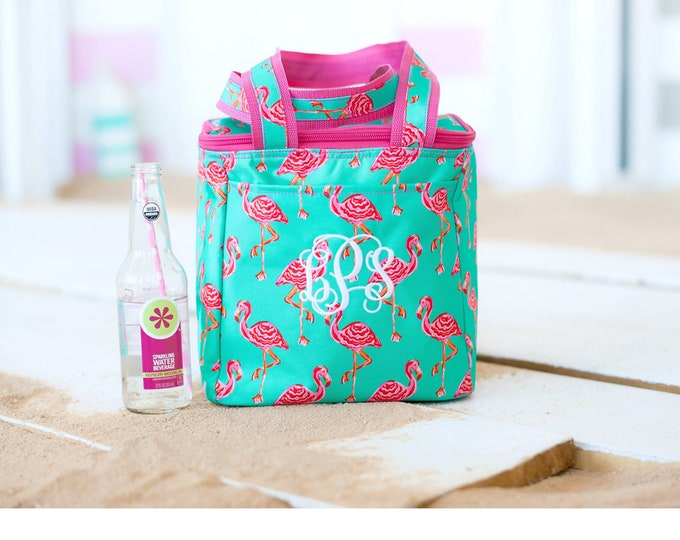 Cooler Bag, Personalized Cooler, Monogram Lunch Bag, Insulated Cooler Tote Bag, Beach Cooler, Turtle, Crab, Flamingo, Pineapple Cooler
