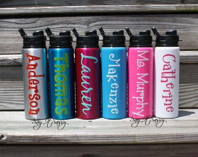 Personalized Water Bottle Aluminum Sports Bottle  28 ounce, Personalized Waterbottle, Sports Bottle