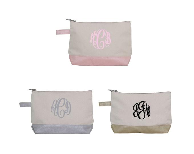 Cosmetic Bag - Metallic Cosmetic Bag - Silver Makeup Bag - Pink Cosmetic Pouch - Bridesmaid Gift