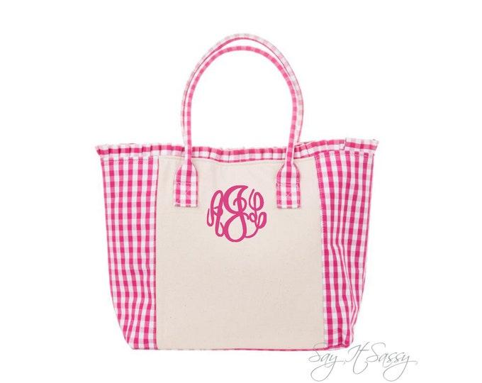 Gingham Tote, Pink Gingham Bag