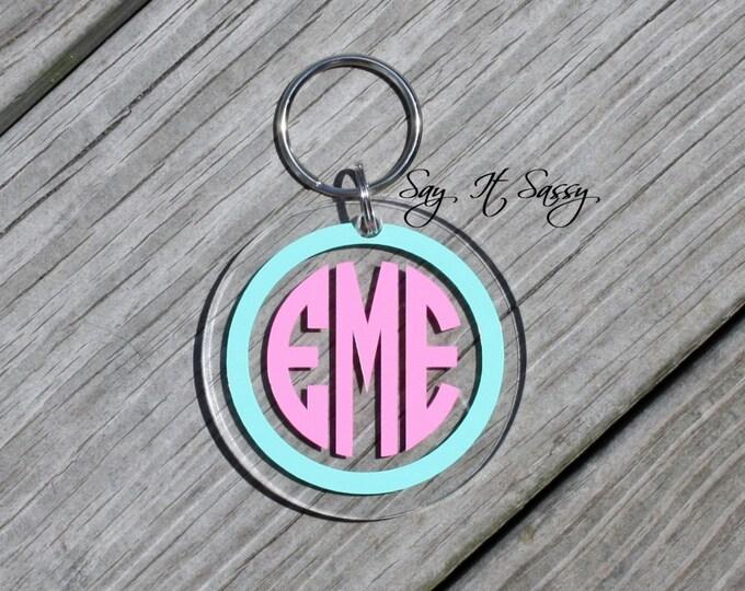 Circle Monogram Keychain Acrylic Personalized Key Chain, Acrylic Keychain, Acrylic Key Chain, Monogrammed Keychain, Personalized Keychain