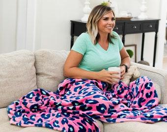 Pink Leopard Plush Blanket, Monogrammed Blanket, Leopard Throw, Pink and Navy Leopard