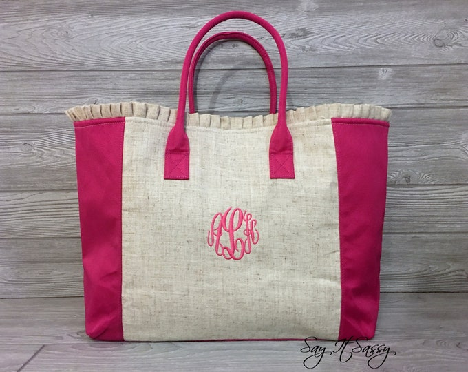 Linen Tote Bag, Monogrammed Linen Tote Bag, Personalized Tote Bag, Linen Bag, Bridal Tote, Bridesmaid Gifts, Ruffle Tote