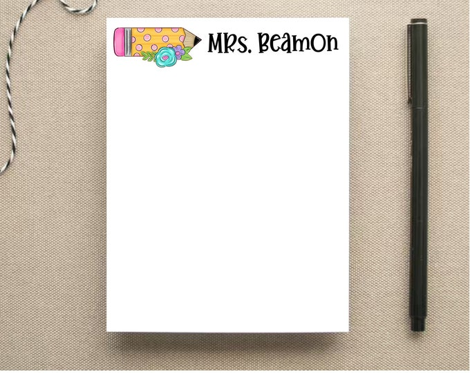 Teacher Personalized Note Pad - Floral Pencil