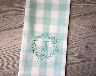 Buffalo Check Kitchen Towel,  Monogram Towel