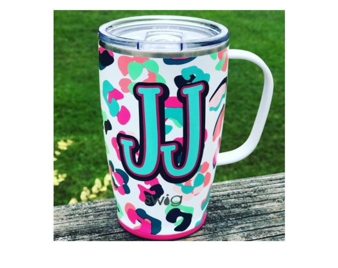 SWIG Coffee Mug, Leopard Coffee Cup, Insulated Coffee Mug, Coffee Mug with Lid, Personalized Gift, SWIG Mug, Monogrammed Mug