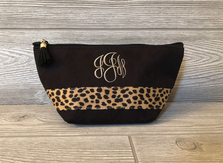 b5f2ab42e4c9 Monogrammed MakeUp Bag Make Up Bag Cosmetic Bag - Leopard ...
