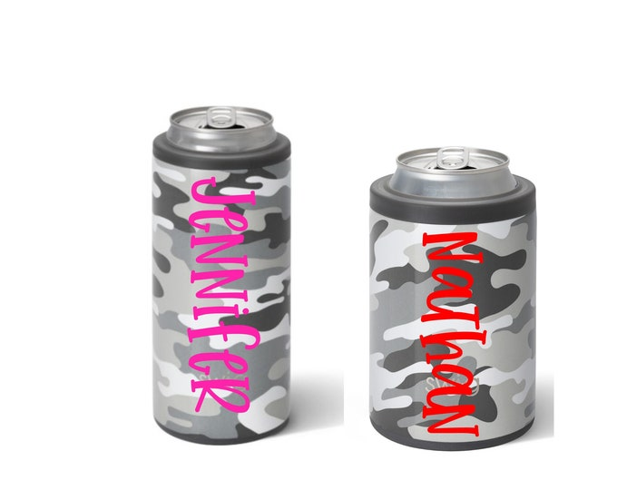 Camo Can Cooler, Standard Can Hugger, Slim Can Cooler, Personalized Can Cooler, Grey Camo, SWIG Can Cooler, Gifts for Him, Beer Holder