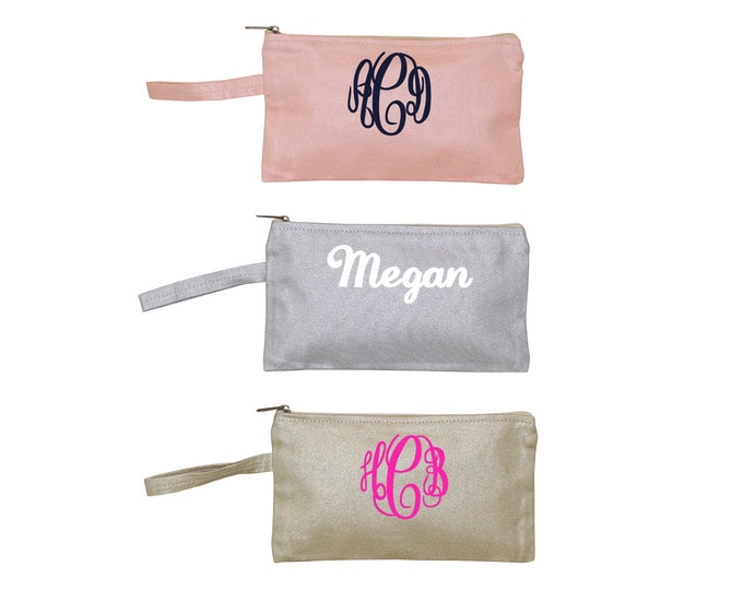 Monogrammed Canvas Cosmetic Bag, Metallic Zipper Pouch, Makeup Clutch, Cosmetic Makeup Bag, Bridesmaid Gift, Bridal Party Gifts