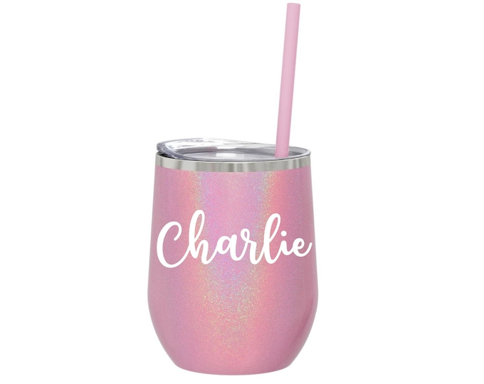 Stainless Steel Wine Glass, Pink Glitter Wine Cup, Personalized Wine Glass, Bridesmaid Gifts, Wine Cup with Lid and Straw