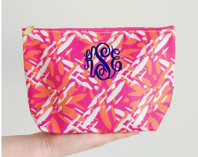 Cosmetic Pouch, Zipper Bag, Monogram Makeup Bag, Gift for Her, Make Up Bag, Personalized Makeup Pouch, Cosmetic Bag, Pink and Orange Bag