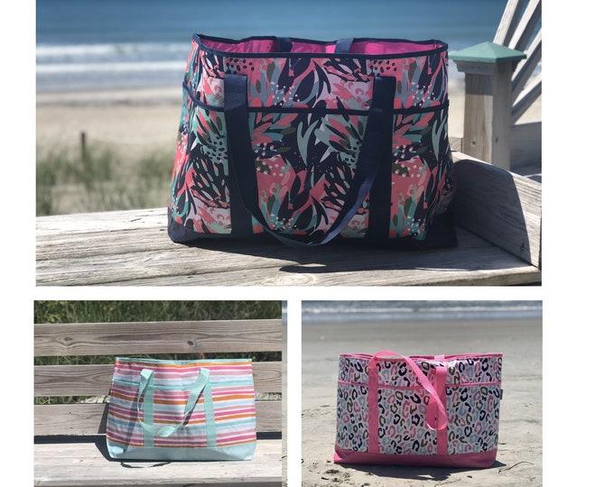 Beach Bag, Large Striped Beach Bag, Monogram Tote, Monogram Beach Bag, Floral Summer Tote Bag, Monogrammed Beach Tote, Pool Tote, Pool Bag,