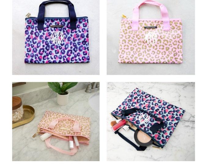 Leopard Cosmetic Bag, Makeup Bag, Leopard Zipper Bag, Carry All Bag, Personalized Makeup Bag, Zipper Pouch, First Aid Bag, Medicine Bag,