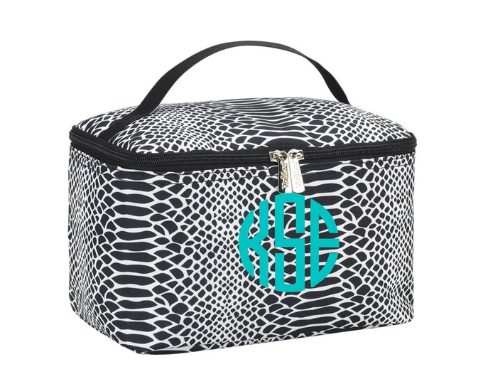 Snakeskin Train Case, Monogrammed  MakeUp Bag, Personalized Cosmetic Bag, Make Up Bag, Travel Makeup Case