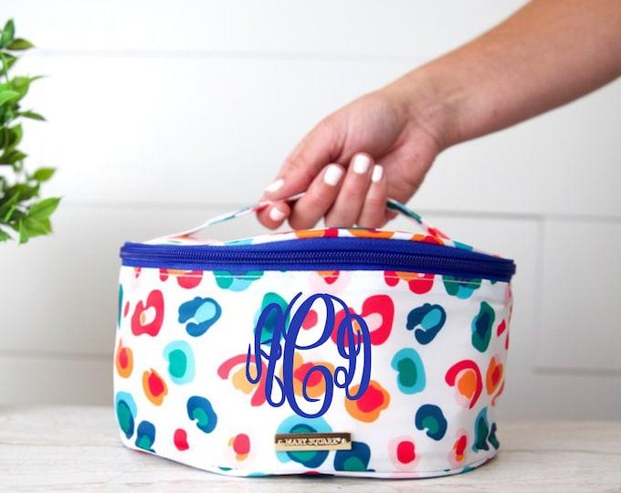 Leopard Makeup Bag - Monogrammed Make Up Bag - Cosmetic Bag - Train Case - Leopard Cosmetic Bag - Bridesmaid Gift - Toiletry Bag