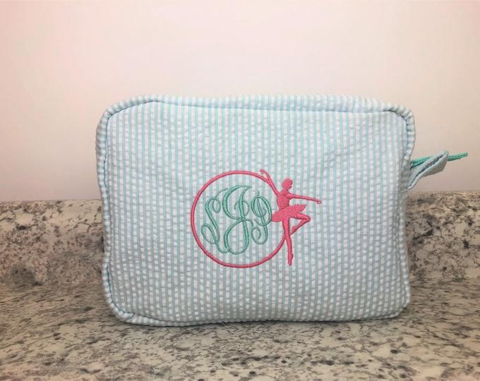 Dancer Cosmetic Bag, Dancer Gift, Seersucker Makeup Bag, Dance Gift, Dance Recital Gift, Dance Team Gift, Dance Monogram, Seersucker Bag