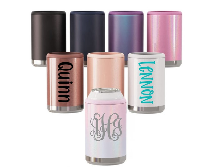 Personalized Can Cooler, Monogram Can Cooler, Bridesmaid Gift, Stainless Steel Can Cooler, Beer Can Cooler, Insulated Beverage Holder