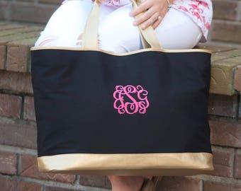 Monogram Tote Bag - Black and Gold Tote - Canvas Tote Bag - Monogram Canvas Bag - Personalized Tote Bag - Bridesmaid Gift - Monogrammed Bag