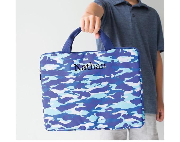 Camo Laptop Tote, Art Bag, iPad Tote, Coloring Book Bag, Gifts for Kids, Tablet Bag, Kids Laptop Bag, Chromebook Tote, Computer Sleeve