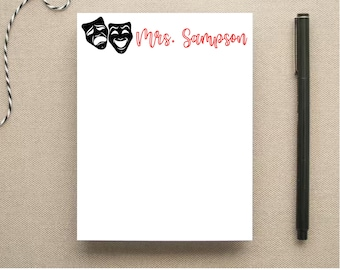 Theater Teacher Personalized Note Pad - Theater Masks