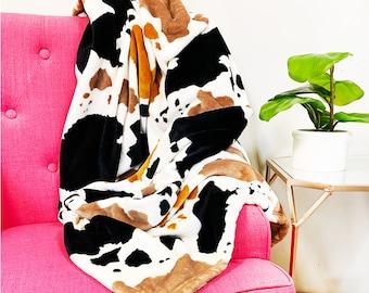 Cowprint Blanket, Monogrammed Blanket, Cowprint Throw, Plush Blanket, Cow Blanket