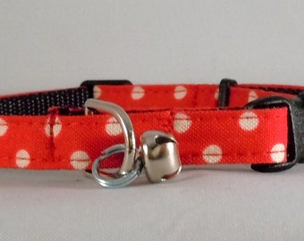 Cat Collar or Kitten Collar  - Red Polka Dots