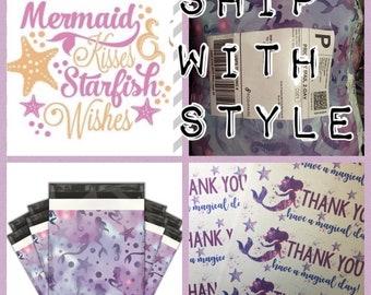 25 Purple Mermaids 10x13 Thank You Stickers ++