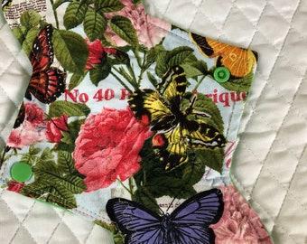 "10.25""  Butterflies  on cotton  Top reusable cloth pad ( regular)"