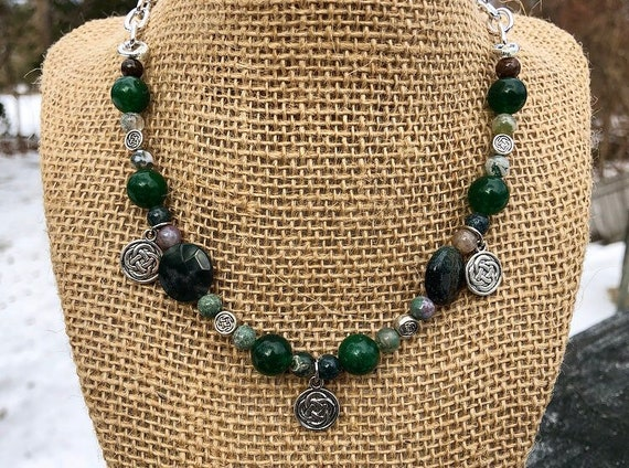 green stone and silver celtic bead necklace