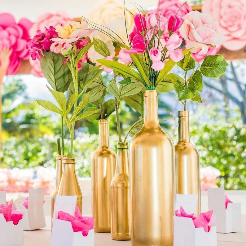 Gold Bottle Vases Centerpieces Vases Wedding Decor Gold Etsy