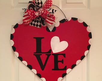 Valentines Heart Love Door Hanger Heart Wreath Valentine Decoration Valentines Day Door Hanger Love Heart