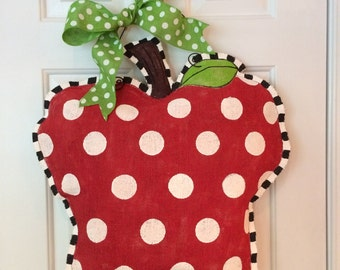 Burlap Apple Hanger Hand Painted u0026 Stuffed Polka Dot Burlap Teacheru0027s Apple Door Hanger w & Burlap Apple Wreath Granny Smith Green Apple Door Hanger Made